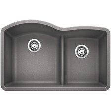 """Diamond 32"""" x 20.88"""" Low Divide Undermount Kitchen Sink"""