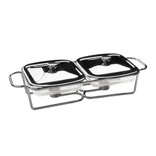 Twin Steel Food Warmer with Marinex Glass Dishes