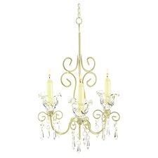 Iron & Acrylic Rococo 3-Light Crystal Chandelier