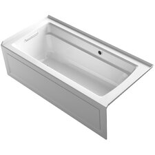 Archer Alcove Bath with Bask Heated Surface, Integral Apron, Tile Flange and Left-Hand Drain by Kohler