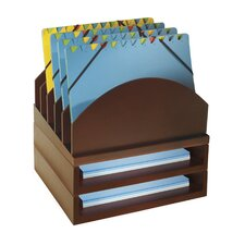 Beaumys Stacking Wood Desk Organizers Step Up File & 2 Tray Kit