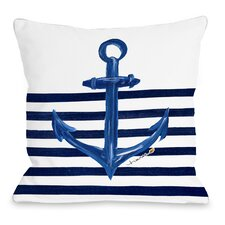 Anchor Half Stripe Throw Pillow