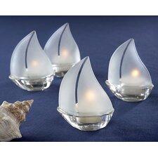 Set Sail Sailboat Glass Tealight Holder (Set of 12)