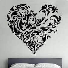 Floral Love Heart Decal Vinyl Wall Sticker