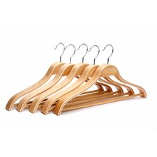 Solid Wooden Men Suit/Clothes Hanger with Hook (Set of 5)