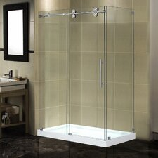 Langham 48 x 35 x 77.5 Completely Frameless Sliding Shower Enclosure with Base by Aston