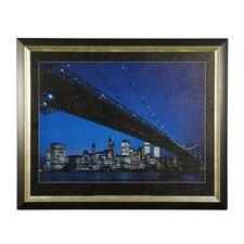 Manhattan Skyline and Brooklyn Bridge Framed Photographic Print