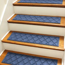 Aqua Shield Navy Argyle Stair Tread (Set of 4)