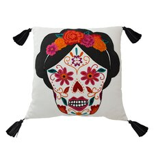 Mexico City Craneo Cotton Throw Pillow