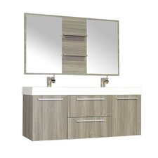 Waldwick 54 Double Wall Mount Modern Bathroom Vanity Set with Mirror by Wade Logan