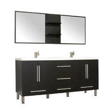 Waldwick 67 Double Modern Bathroom Vanity Set with Mirror by Wade Logan