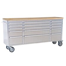 """72""""W 15-Drawer Anti-Fingerprint Tool Chest with Work Station"""
