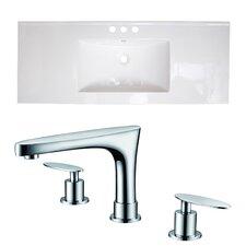 Zia Ceramic 48 Single Bathroom Vanity Top with 2 Handles by Bloomsbury Market
