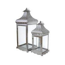 2 Piece Energicus Lantern Set in Silver