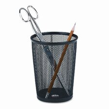 Nestable Jumbo Wire Mesh Pencil Cup, 4 3/8 dia. x 5 1/8, Black (Set of 2)
