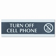 """Century Series """"Cell Phones Must Be Turned Off"""" Sign, 9 x 1/2 x 3, Black/Silver"""