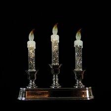 Pre-Lit LED 3-Tier GlitterChristmas Flameless Candle