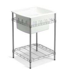"Latitude 25"" x 22"" Single Utility Sink with Stand"