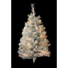 Pre-Lit Tinsel 3' Artificial Christmas Tree