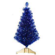 3' Cobalt Blue Fiber Optic Artificial Tinsel Christmas Tree with Multi Lights