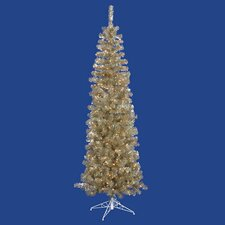 10' Champagne Artificial Pencil Tinsel Christmas Tree with Clear Lights
