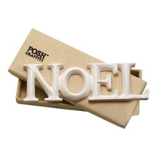 NOEL Old English Handcarved Wooden Words Wall Art