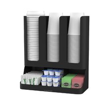 Flume 6 Compartment Upright Coffee Condiment and Cups Organizer