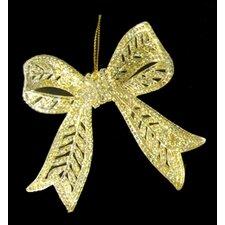 Elegant and Glitter Bow Christmas Ornament (Set of 2)