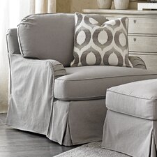 Oyster Bay Stowe Slipcover Armchair and Ottoman by Lexington