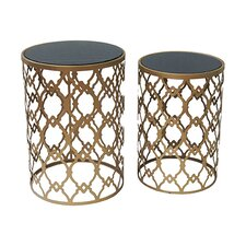 Monaco 2 Piece Gold and Black Mirror Table Set by Crestview Collection