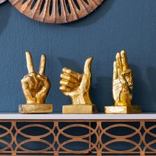 Gold Metallic Hand 3 Piece Figurine Set