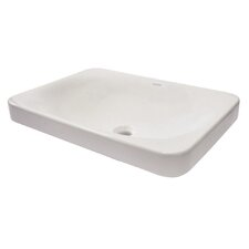 Matt Muenster Exclusive Vitreous China Semi-Recessed Lavatory Rectangular Vessel Bathroom Sink with Overflow