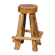 "Traditional Cedar Log 30"" Bar Stool"