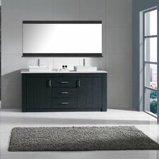 Glen Ridge 72 Double Bathroom Vanity Set with White Top and Mirror by Wade Logan