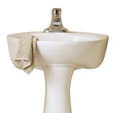 "16"" Pedestal Bathroom Sink with Overflow"