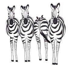 Wanddekoration Zebrafamilie
