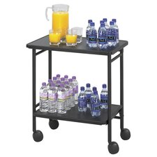 Folding Office Beverage Cart with 2 Shelves
