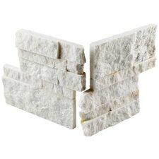 "Piedro 7"" x 7"" Natural Stone Corner Piece Tile Trim in White"