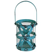 Crissy Cross Hatch Candle Lantern in Teal