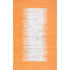 Munegu Handmade Orange/White Area Rug