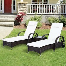 Double Sun Lounger Set with Cushion and Table