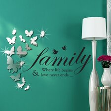 Wandsticker-Set Mirror Butterflies with Family Quote Mirror