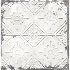 "Tin Ceiling Distressed 33' x 20.5"" Geometric Tile Wallpaper"