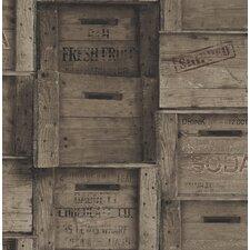 "Crates Distressed Wood 33' x 20.5"" Geometric Panel Wallpaper"