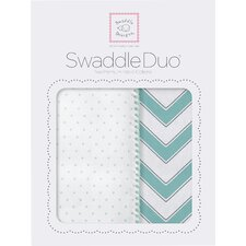 Maggie Swaddle Blanket in Sea Crystal (Set of 2)