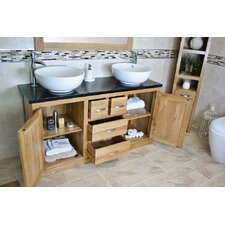 Wheaton 143cm Double Basin Vanity Unit With Tap and Storage Cabinet