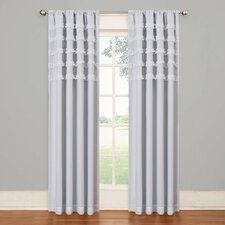 Lola Simone Striped Blackout Thermal Rod Pocket Single Curtain Panel