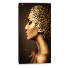 Woman with Gold Feather Hat Contemporary Graphic Art on Wrapped Canvas