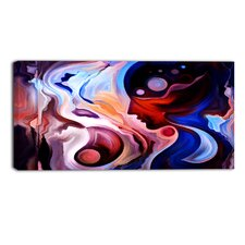 Watching Woman Abstract Graphic Art on Wrapped Canvas