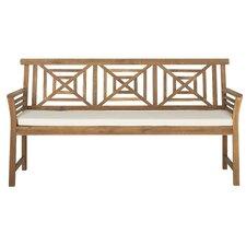 Garrity 3 Seat Acacia and Polyester Garden Bench
